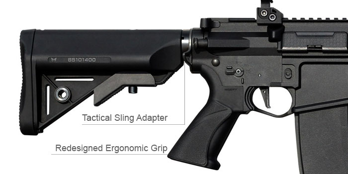 The Modify XTC CQB Automatic Electric Gun with Tactical Sling Adapter and Redesigned Ergonomic Grip.